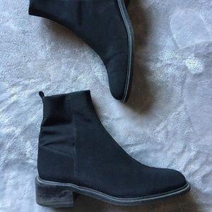 Stuart Weitzman Black Nylon Cloth Chelsea Boots 8